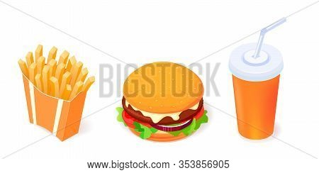 Set Of Vetor Food Objects Icons - Burger, Cola And French Fries On White