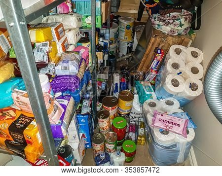 Donegal , Ireland - March 02 2020 : Pantry Filled With Food