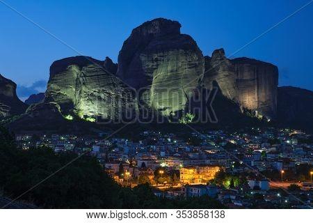 Kalambaka village in famous greek tourist destination Meteora in Greece in night