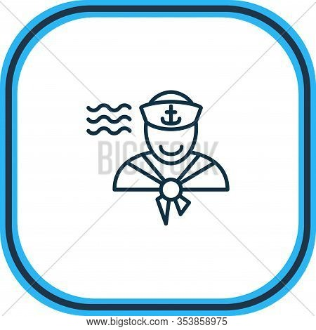 Illustration Of Sailor Man Icon Line. Beautiful Naval Element Also Can Be Used As Seaman Icon Elemen