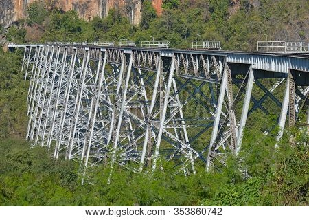Goteik Viaduct Over Gohtwin Stream - Single Rail Track Bridge Near Nawghkio Western Shan State Myanm