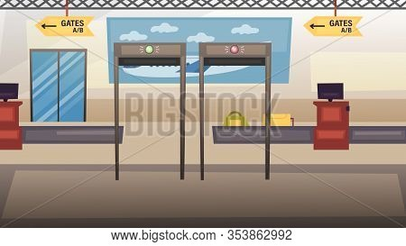 Concept Of Airport And Safety Travel. Airport Security Check And Security Checkpoint At The Airport