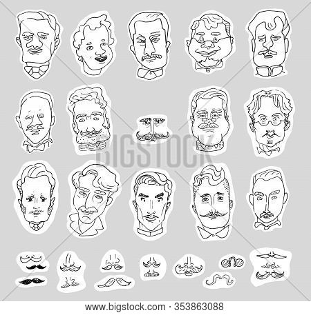 Set Of Cartoon Linear Caricature Portraits Of Men And Drawings Of Mustaches Isolated On A White Back