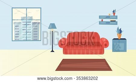 Cozy Living Room Interior Concept. Modern Home Interior With Sofa, Carpet, Window With Cityscape Vie