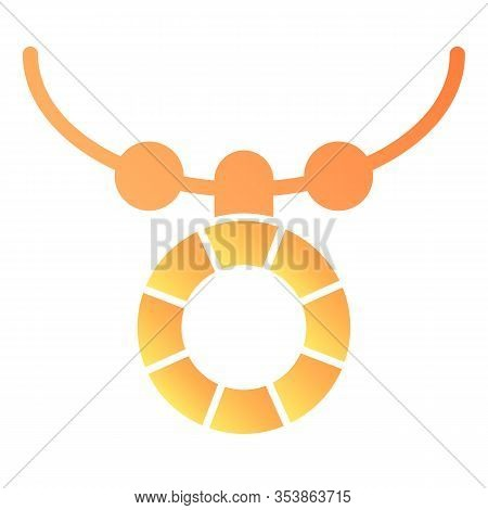 Necklace With Pendant Flat Icon. Female Accessory Vector Illustration Isolated On White. Jewellery G