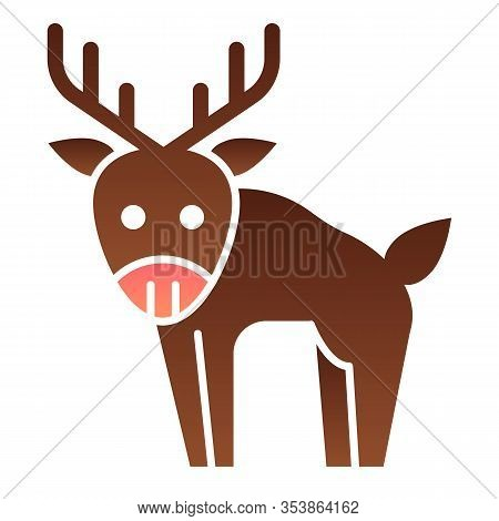 Deer Flat Icon. Horned Wild Forest Animal Silhouette. Animals Vector Design Concept, Gradient Style