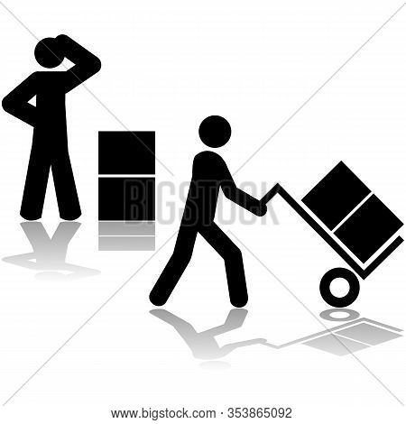 Icon Set: First Icon Showing A Man Wondering How To Carry Boxes And Second Showing Him Using A Hand