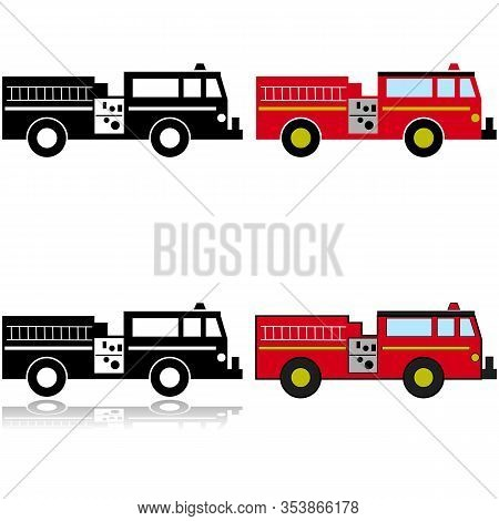 Icon Set Showing An Illustration Of A Firetruck Represented In Different Styles