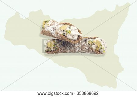 Traditional Sicilian Cannoli Sweets With Pistachios Traditional Sicilian Cannoli Sweets With Pistach