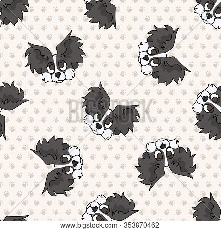 Hand Drawn Cute Papillon Breed Puppy Dog Face Seamless Vector Pattern. Purebred Pedigree Puppy Domes