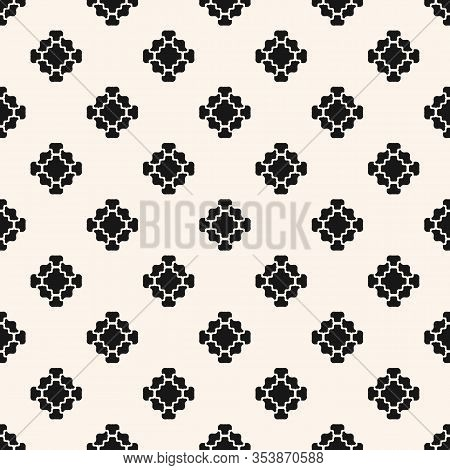 Vector Floral Geometric Seamless Pattern. Simple Minimalist Ornament With Flower Shapes. Stylish Min