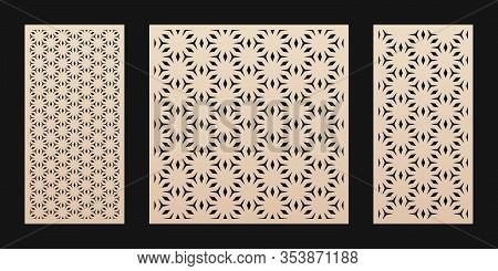 Laser Cut Pattern. Vector Template With Abstract Geometric Texture In Oriental Style, Floral Grid Or