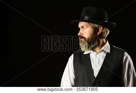 Man With Retro Hat. Brutal Bearded Hipster In Suit Vest. Mafia Gentlemen Club. Mature Cowboy. Detect