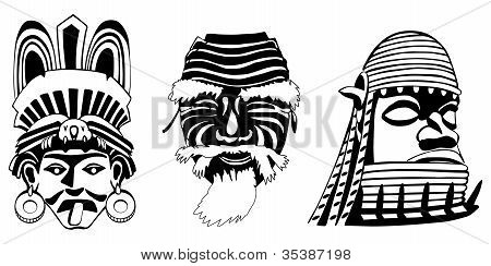 Masks, Aztec, Japanese and African