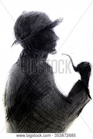 Dark Silhouette Of A Man With A Pipe. Illustration Of The Image Of Sherlock Holmes.