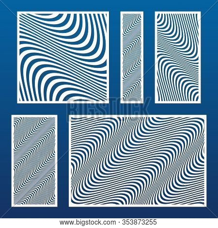Laser Cut Template Set. Vector Stencil With Abstract Geometric Pattern, Wavy Lines, Curves, Stripes.