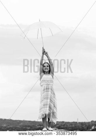 Fairy Tale Character. Feeling Light. Girl With Light Umbrella. Anti Gravitation. Fly Drop Parachute.