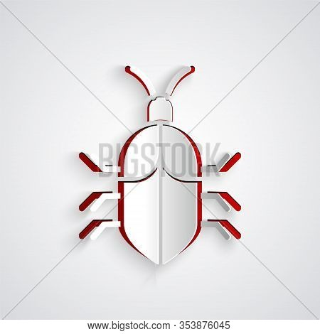 Paper Cut System Bug Concept Icon Isolated On Grey Background. Code Bug Concept. Bug In The System.