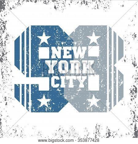 New York Typography, T-shirt Ny, Vintage Design Graphic, Printing Man Nyc