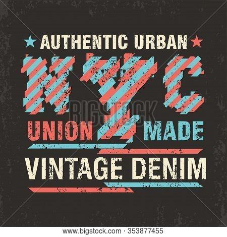 New York Typography, T-shirt Ny, Vintage Design Graphic, Printing Man Nyc,