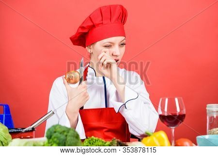 Stinging Eyes And Tears Cutting Onions. Chef Cook Peeling Onion. Kitchen Routine. Girl Cooking Healt