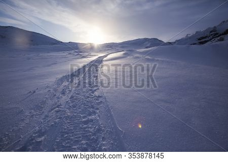 Snowmobile Trail In Snow Desert. Kola Peninsula Winter Day Landscape