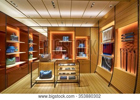 SINGAPORE - JANUARY 20, 2020: interior shot of Moynat store in the Shoppes at Marina Bay Sands. Moynat is a French luxury fashion company.