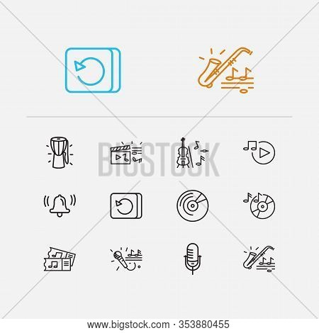 Melody Icons Set. Video Clip And Melody Icons With Saxophone, Music Tickets And Karaoke. Set Of Vint