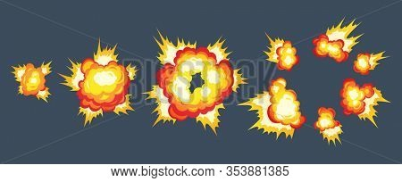 Cartoon explosion fire effect. Effect boom, explode flash, bomb comic book, illustration. Animation for game of the explosion effect, broken into separate frames.