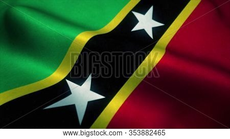 Saint Kitts And Nevis Flag Waving In The Wind. National Flag Of Saint Kitts And Nevis. Sign Of Saint