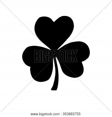 Vector Black Shamrock Clover Silhouette Icon Isolated On White Background