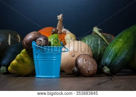 Vegetables. Vegetables Lie On A Wooden Table Top, Among Them Are Pumpkins, Squash, Zucchini And Mush