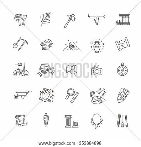 Archeology Vector Line Icons Set. Archeology Collection