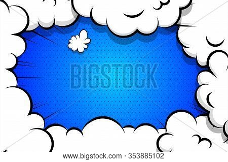 Comic Book Cartoon Speech Bubble For Text. Cartoon Puff Cloud Blue Background For Text Template. Pop