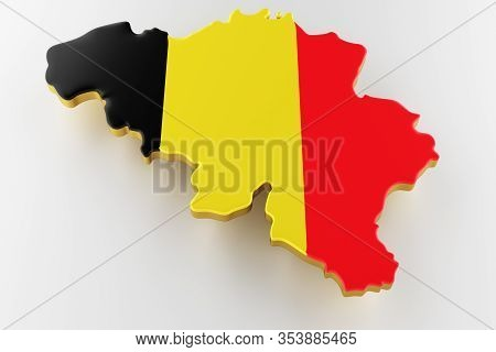 3d Map Of Belgium. Map Of Belgium Land Border With Flag. Belgium Map On White Background. 3d Renderi