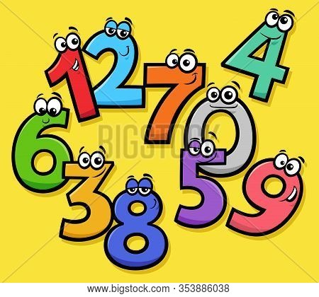 Educational Cartoon Illustrations Of Funny Basic Numbers Characters Group