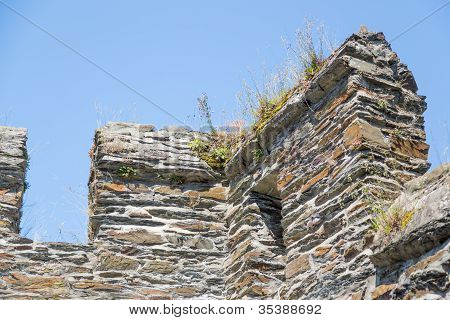 Wall With Crenels Of An Old Medieval Castle In Germany