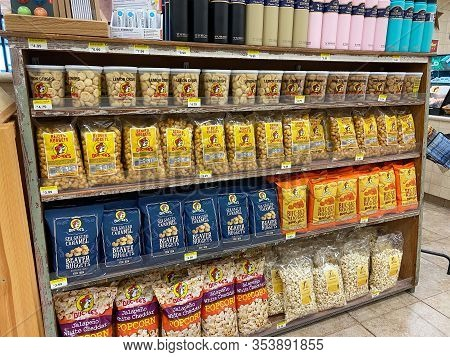 Houston, Tx/usa-2/25/20:  Beaver Nuggets Snacks At A Buc Ees.  The Buc Ees Gas Station, Fast Food Re