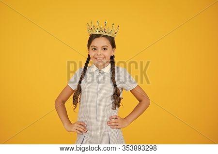Join Luxury Class. Succeed In Education. Celebrating Success. Happy Schoolgirl Wear Golden Crown Sym
