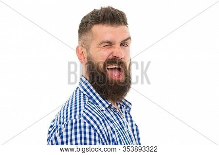 Hipster With Mustache And Beard Happy Face Expression. Happiness Concept. Psychological Health. Happ