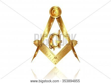 Gold Freemasonry Emblem - The Masonic Square And Compass Symbol. All Seeing Eye Of God In Sacred Geo