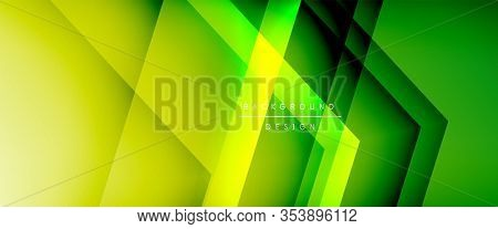 Arrow lines, technology digital template with shadows and lights on gradient background. Trendy simple fluid color gradient abstract background with dynamic straight shadow lines effect. Illustration