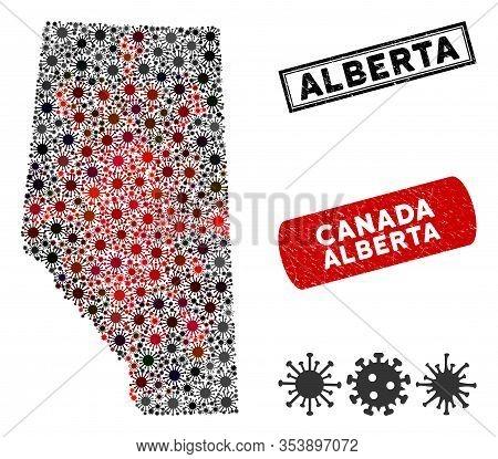 Coronavirus Mosaic Alberta Province Map And Grunge Stamp Watermarks. Alberta Province Map Collage De
