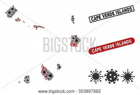 Coronavirus Collage Cape Verde Islands Map And Rubber Stamp Watermarks. Cape Verde Islands Map Colla