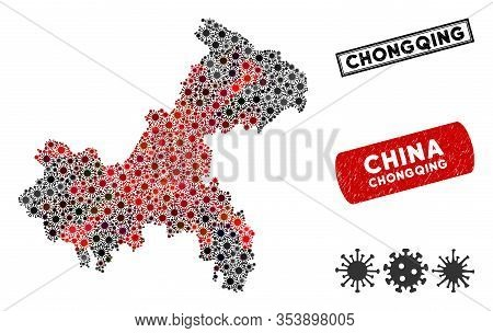Coronavirus Collage Chongqing City Map And Grunge Stamp Watermarks. Chongqing City Map Collage Desig