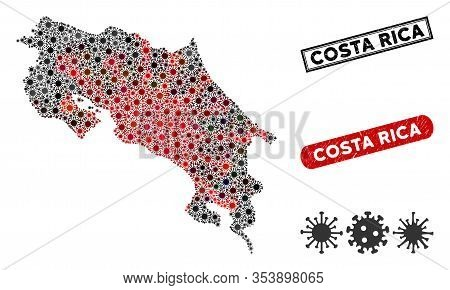 Coronavirus Collage Costa Rica Map And Rubber Stamp Seals. Costa Rica Map Collage Composed With Scat