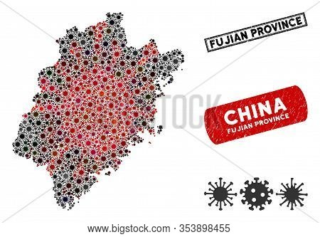 Coronavirus Collage Fujian Province Map And Corroded Stamp Seals. Fujian Province Map Collage Create