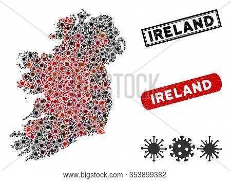 Coronavirus Collage Ireland Island Map And Distressed Stamp Watermarks. Ireland Island Map Collage C