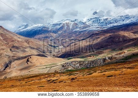 Kibber village in Himalayas. Lies in a narrow valley on the summit of a limestone rock. Elevation 4270 m above sea level. Highest populated village in the world. Spiti Valley, Himachal Pradesh, India