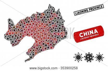 Coronavirus Mosaic Liaoning Province Map And Grunge Stamp Watermarks. Liaoning Province Map Collage